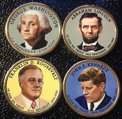 Colorized Presidential Dollars - Washington -Lincoln-Fdr-Jfk - Front Only