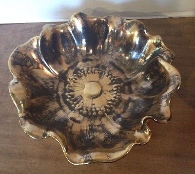 """Stangl Black Gold Flower Dish - Large 9"""", Excellent Condition, # 3410"""