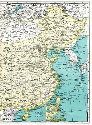 1947 Antique CHINA Map Vintage Original Map of China Poster Print Size 2947