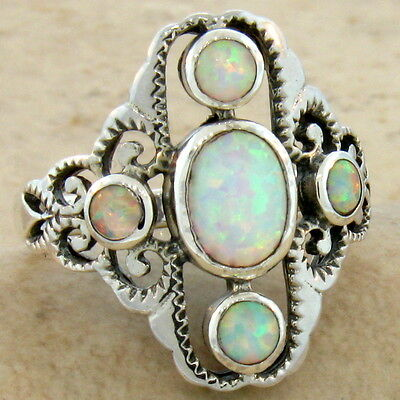 WHITE LAB OPAL ANTIQUE VICTORIAN DESIGN 925 STERLING SILVER RING Sz 4.75,   #586