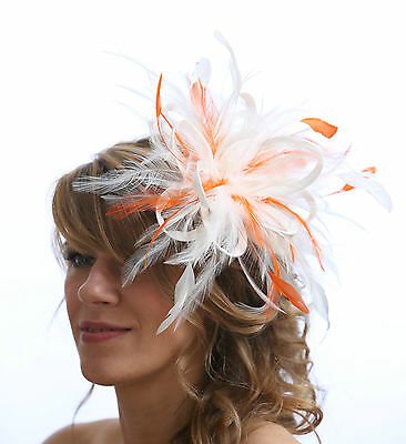 White Fascinator hat with orange highlight/choose any colour satin/feathers