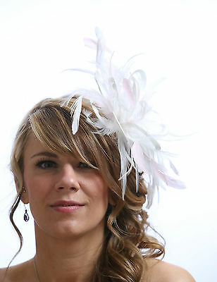 White Fascinator hat with baby pink highlight/choose any colour satin/feathers