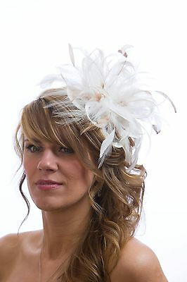 White Fascinator hat with taupe nude highlight/choose any colour satin/feathers