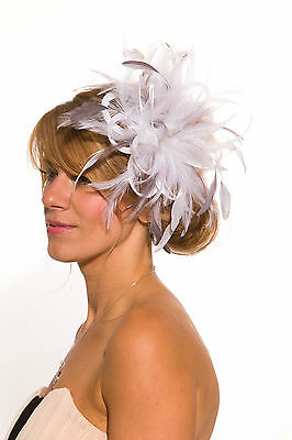 White Fascinator hat with Pewter highlights/choose any colour satin/feathers