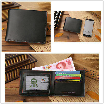 Black Mens Genuine Leather Bifold Wallet Credit/ID Card Coin Holder Purse Slim51