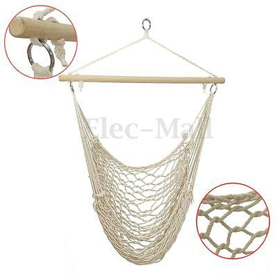 Deluxe Cotton Hammock Rope Chair Patio Porch Yard Tree Hanging Air Swing Outdoor