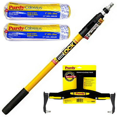 """Purdy PowerLock Extension Pole & Paint Roller Frame & 12"""" Colossus Sleeves x 2"""