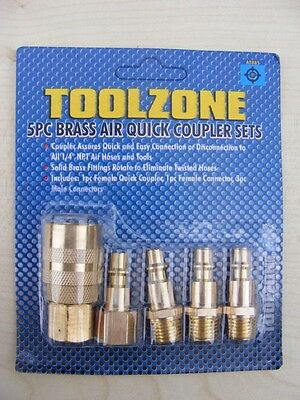 Toolzone Pro 5pc Air Line End Quick Coupler Set Compressor Coupling 1/4 NPT BSP