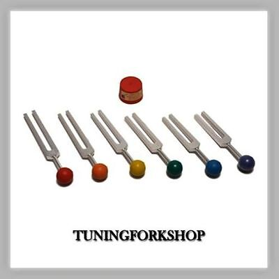 6 Sacred Solfeggio Tuning forks with color ball handles Tuners for Sound Healing