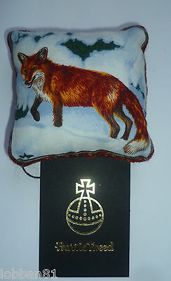 Harris Tweed  & Cotton Pin Cushion Fox in Winter in Organza Gift Bag Made UK New