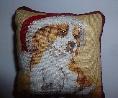 Pin Cushion Christmas Puppy Cotton Front Harris Tweed Back in Organza Gift Bag