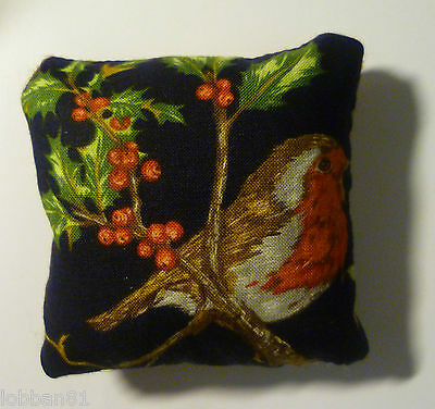 Robin  Pin Cushion Cotton Front Harris Tweed back in Organza Gift Bag Made UK