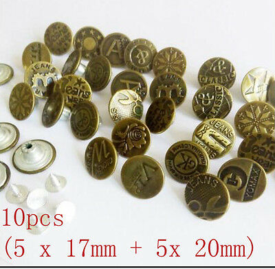 10x 17mm & 20MM NO SEW Hammer On Denim Jeans Buttons Brass with Tack Alloy Stud
