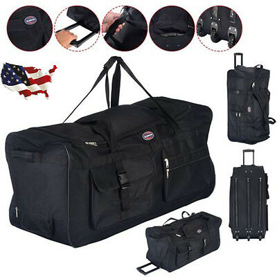 "36"" Black Rolling Wheeled Tote Duffle Bag Carry On Luggage Travel Suitcase New"