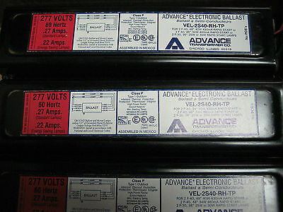 * New Advance  Electronic Ballast 277 V. .27 A.    Vel-2S40-Rh-Tp         Yh-323