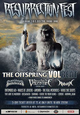 Offspring /volbeat/bullet For My Valentine/abbath 2016 Spain Concert Tour Poster