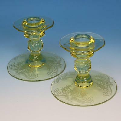Paden City Yellow Depression Glass - Pair of Etched Peacock & Urn Candlesticks