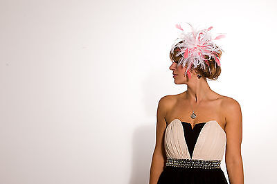 White Fascinator hat with coral pink highlight/choose any colour satin/feathers