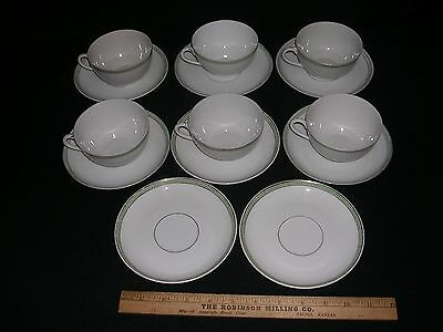 Set of  6 CUPS & 9 SAUCERS GREEN GREEK KEY PATTERN Various makers