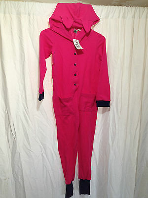 BNWT Girls Size 4 Hot Pink Waffle Style Fabric Hooded One Piece PJ Sleep Suit