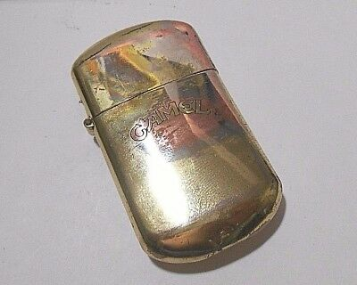 Retro Camel Cigarettes Flip Top Fluid Brass Cigarette Lighter - Working