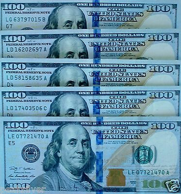 5 $100.00 Federal Reserve Notes UNC/AU 2009 Series Fastest Shipping!!