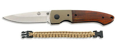 PUMA TEC ONE-HAND FOLDING KNIFE + PARACORD BRACELET /PAKKA WOOD w CLIP / 7335511