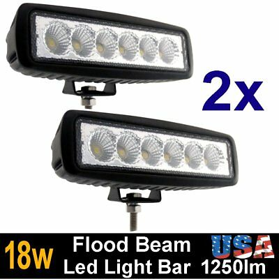 2X 6Inch 18W Led Work Light Bar Flood Beam Offroad Driving Fog 4Wd Lamp Ute Suv