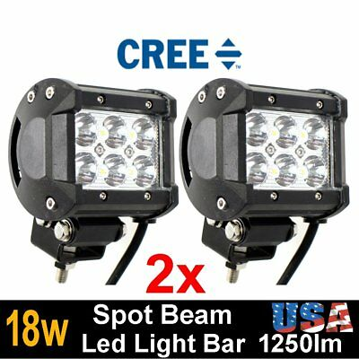 2 pcs 18W LED Work Light Bar Driving Fog Spot Beam Lamp Off-road SUV ATV 4WD