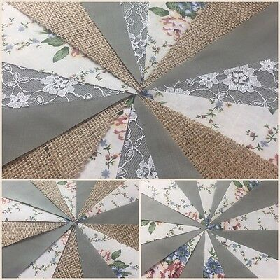 BEAUTIFUL SAGE GREEN AND HESSIAN FABRIC BUNTING.Shabby vintage,weddings,parties