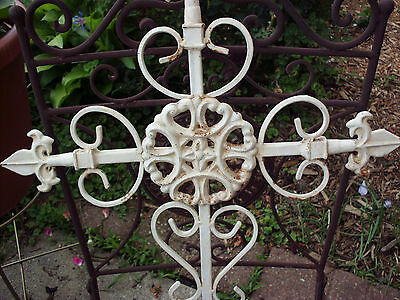 "Antique Cast Iron Curled Cross Wall Sconce Finial W/hanging Hole 22"" X 18"""