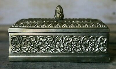 Antique Silver Plated Heavy Trinket Box Vintage Victorian Ornate Container w Lid