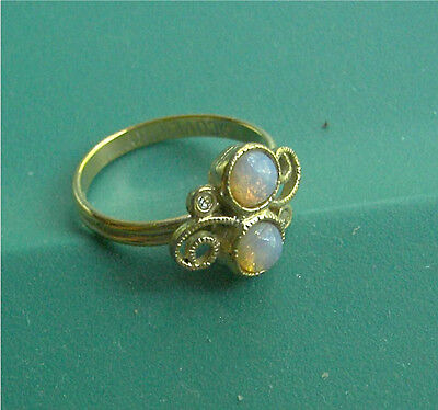 """Gold Tone Ring """"CONFECTION""""  Faux Opal - Sarah Coventry Jewelry - Sara Cov - Vtg"""