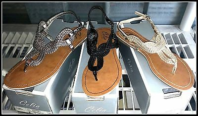 NEW Celia Women/'s Party Fashion T Strap Flats Sandals Black Gold Pewter Free S/&H