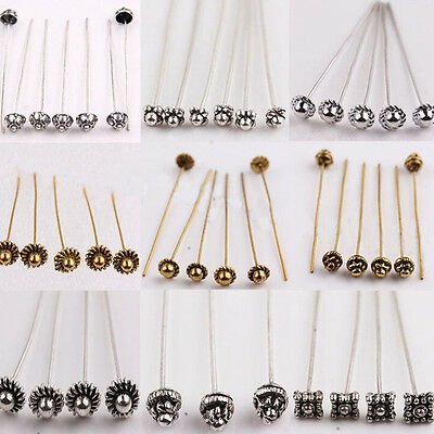 20/100pcs Silver Golden Plated Metal Head/Crown/Ball Pins Jewelry Findings 50mm