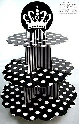 3 Tier Cupcake Tree  Black  & White Cardboard Dotted Design Crown On Top Party