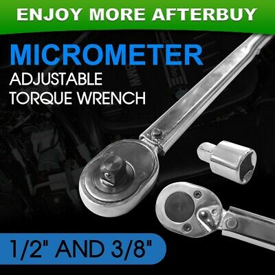 "Adjustable 1/2"" and 3/8"" Dual Drive Micrometer Torque Ratchet Wrench"