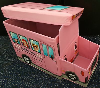 Large Kids Clothes Storage Seat Bedroom Stool Toys Box Chest School Bus Pink UK