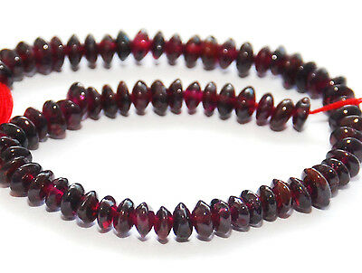 Half Strand Natural Smooth Garnet Button / Rondelle / Abacus Beads, 4.5 - 5 Mm