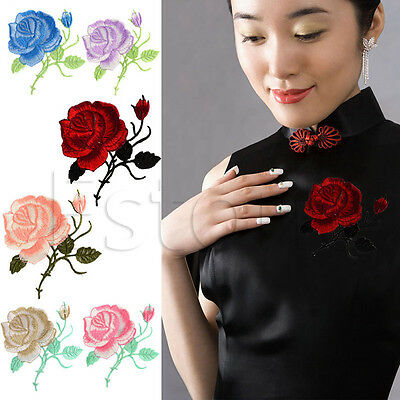 Rose Flower Iron-On Embroidered Patch Motif Applique Garment Decoration Craft
