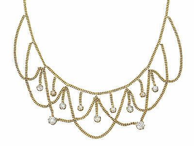 Antique 2.50 Ct Diamond and 18k Yellow Gold Necklace, Circa 1880