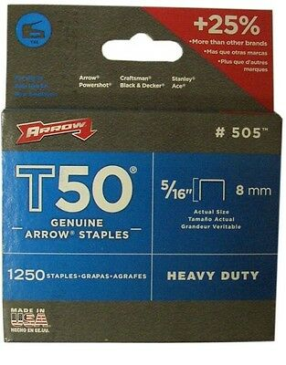 4 x 1250 Arrow T50516 T50 Staples 8mm Pack 5000 5//16in