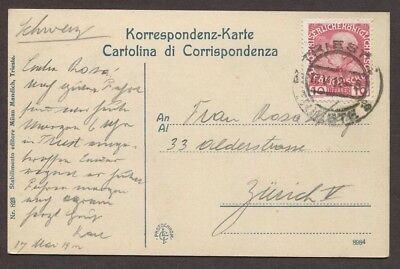 Austria Italy 1912 State Government Building Postcard Trieste To Switzerland