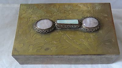 Antique Chinese Brass Engraved With Jade And Quartz Crystal Stones Box