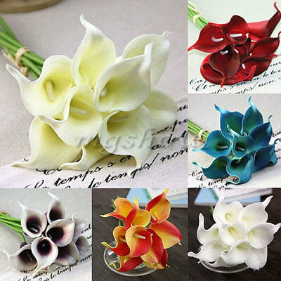 Artificial PU Latex Real Touch Calla Lily Fake Flower Wedding Home Decor Bouquet