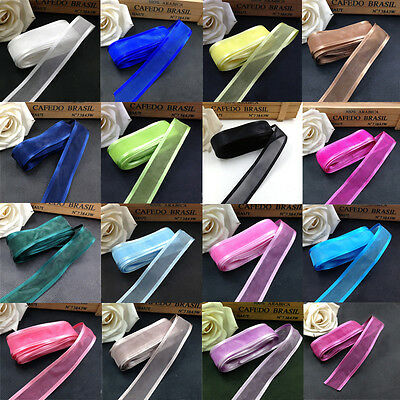 Quality 5 Metres Woven Satin Edge Organza Ribbon 25mm Width Crafts Various Color