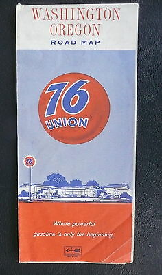 1967  Washington Oregon  road  map Union 76 gas oil