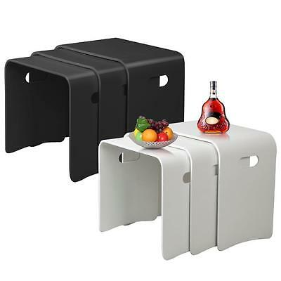 High Gloss Nesting of 3 Coffee Tables Home Side End Table Set Furniture