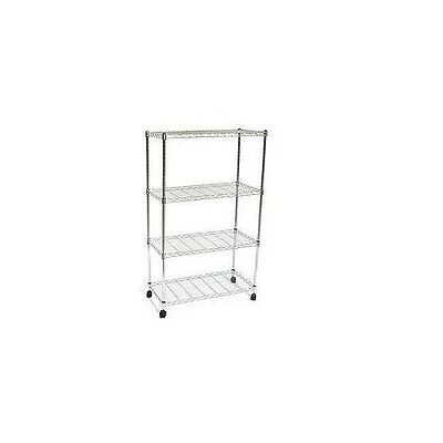 NEW 4 Shelf Wire Unit with Casters 30 x 14 x 48 CHROME 4 tier Shelving Unit