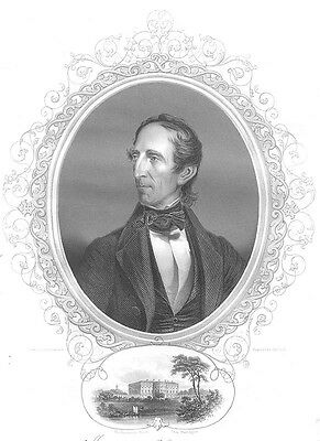 REUPBLIC OF TEXAS President JOHN TYLER Virginia ~ Old 1856 Art Print Engraving